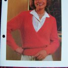 USA 1 Cent S&H VIntage 80's Knitting Pattern Rib Pattern Surplice Crossover Sweater