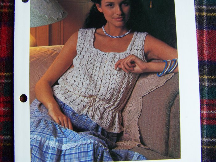 USA 1 Cent S&H Vintage Knitting Pattern Misses FIligree Camisole Top