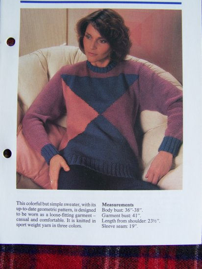USA 1 Cent S&H Vintage Knitting Pattern Misses Geometric 1980's Sweater
