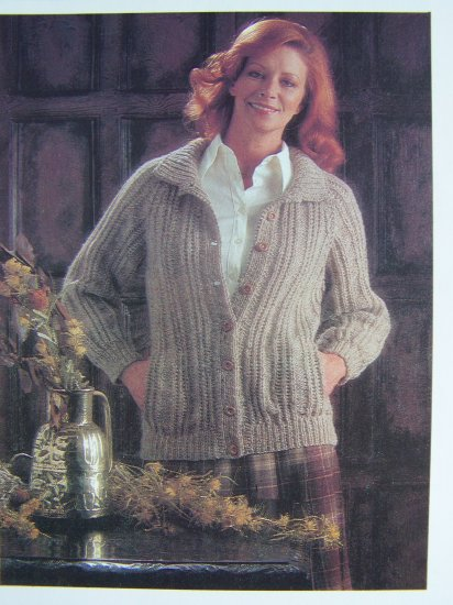 Misses Vintage Ribbed Sweater Jacket Knitting Pattern USA 1 Cent S&H