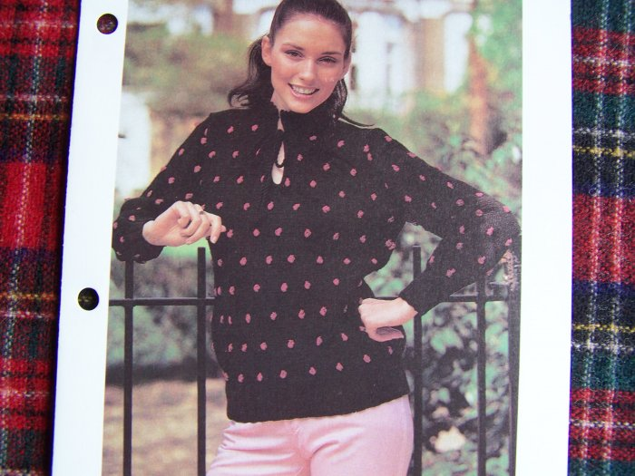 USA 1 Cent S&H Vintage Misses Knit Pattern Bobble Sweater Bust 36 38 40