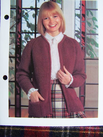 USA 1 C S&H Vintage KNitting Pattern Styled Ribed Sweater Jacket Open Front