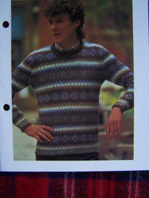 USA 1 Cent Shipping Men's Shetland Sweater Vintage Knitting Pattern