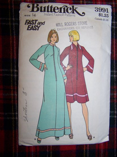 Vintage Sewing Pattern 3991 Misses Robe Loungewear Caftan Style Sz 14