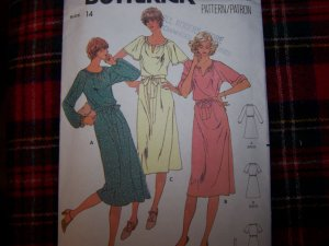 70's Vintage Sewing Pattern 6052 Dress 3 Sleeve Options Long Puff Elbow Turn Cuff SHort Flared Sz 14