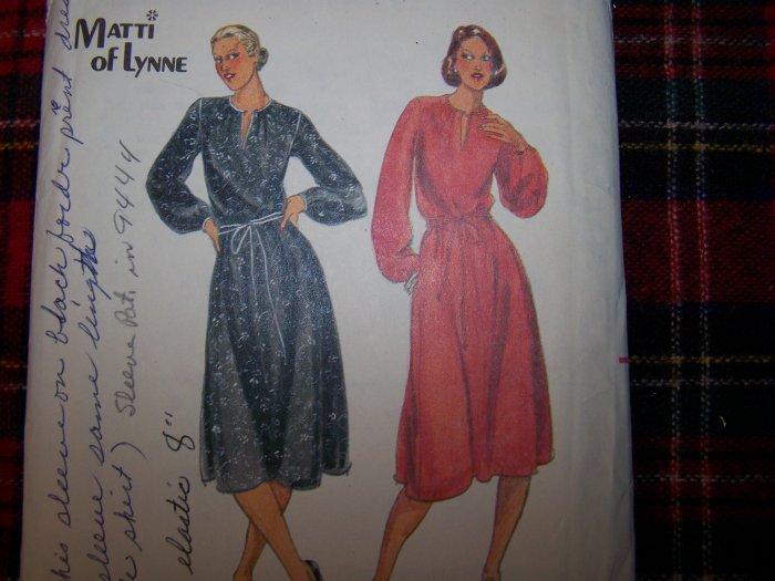 Vintage 70's Dress Slit Blouson Bodice Full SKirt & Sleeves Sewing Pattern 5677 Sz 14