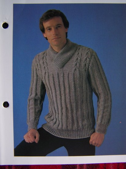 USA 1 Cent S&H Vintage Men's Shawl Collar Knitting Pattern Chest 38 40 42 44