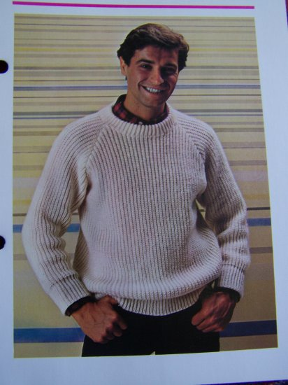 1 Cent USA S&H Man's Ribbed Knitted Sweater Vintage Knitting Pattern