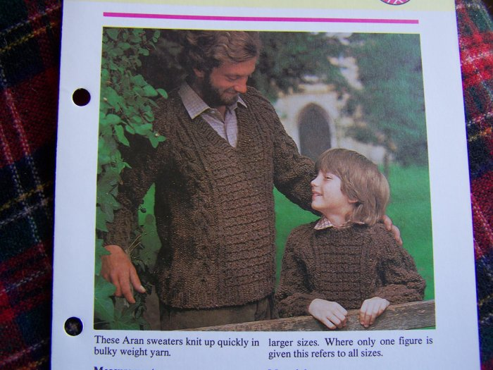 US 1 Cent S&H Vintage Knitted Family Arans Sweaters Patterns Knitting