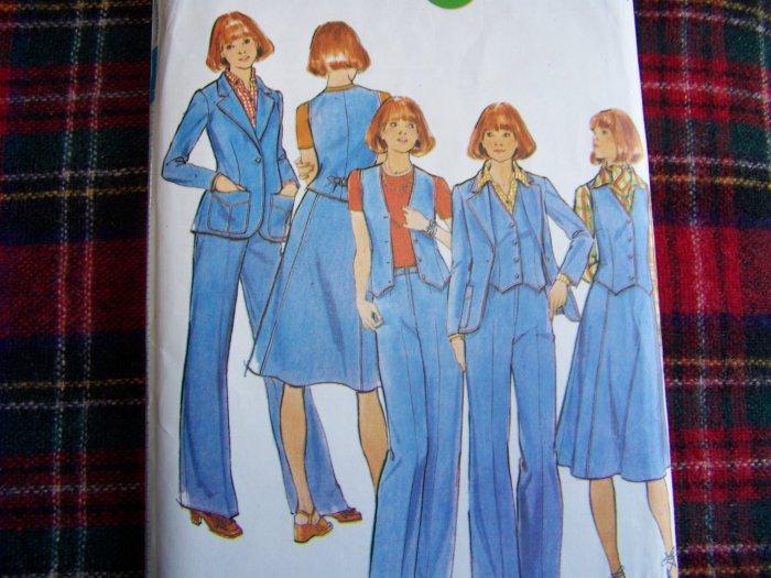 Vintage Sewing Pattern 4660 Misses Sz 14 Jacket Vest Skirt Pants