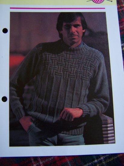 USA 1 Cent Shipping Men Vintage Knitting Pattern Criss Cross Rib Sweater