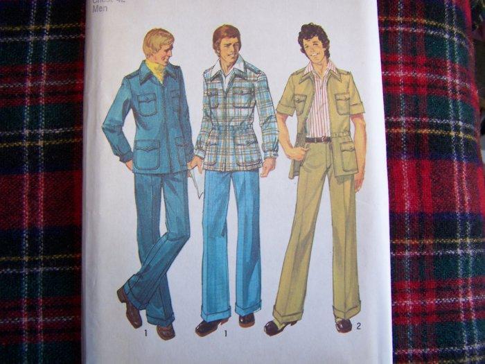 Vintage 70's Mens Safari Leisure Suit Sewing Pattern 6373 Sz 42 Simplicity