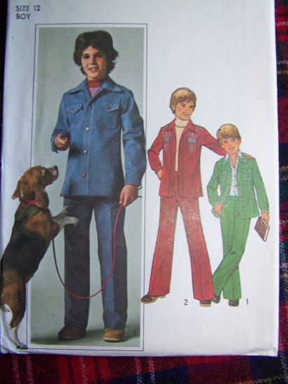 70's Vintage Boys Sewing Pattern Safari Leisure Suit Sz 12 Simplicity 7692