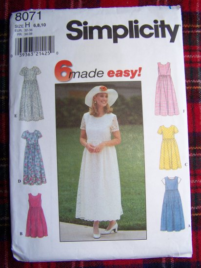 Misses 6 Easy Dresses Sewing Pattern 8071 Empire Waist Short & Tea Length