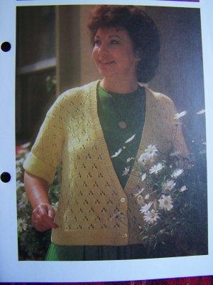 1 Cent USA S&H Vintage Plus Size Knitting Pattern Short Sleeve Sweater Jacket