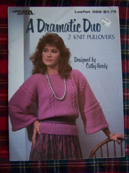 1 Cent USA S&H 1980s Vintage Misses Knit Pullover 2 Sweaters Patterns