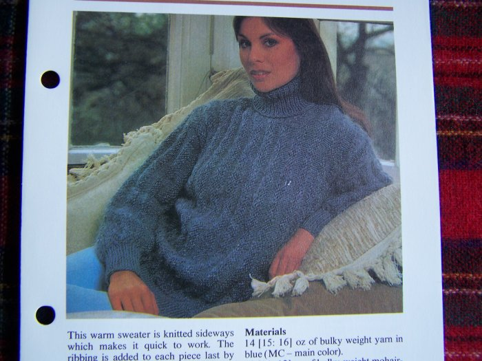1 Cent USA S&H Misses Vintage Knitting Pattern Turtleneck Sweater Knitted Sideways