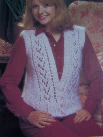 S&H USA 1 Cent Vintage Knitting Pattern Ladies Lacy Sweater Vest