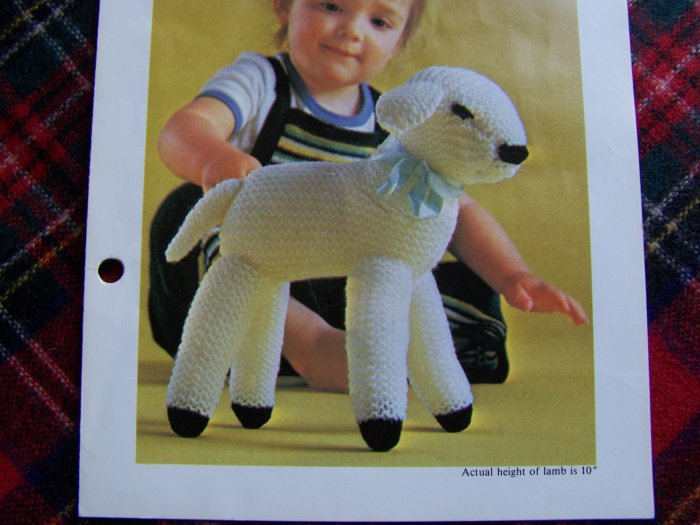 USA 1 Penny S&H Vintage Knitting Pattern Spring Lamb Toy Animal