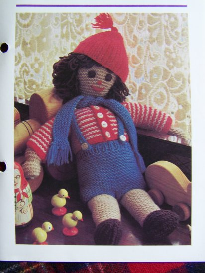 1 Cent USA S&H Vintage Knitting Pattern Robbie Red Hat Stuffed Doll
