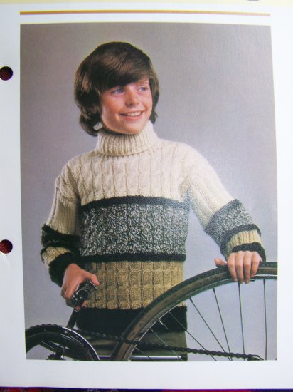 USA 1 Cent S&H VIntage Knitting Pattern Girls and BOys Turtleneck Cable Sweater