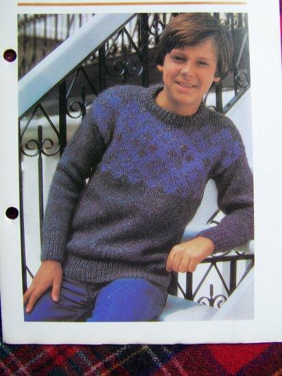 1 Cent USA S&H Vintage Knitting Pattern Boys Sweater Fair Isle Yoke