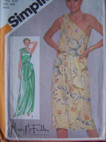 Vintage Sewing Pattern 9930 One Shoulder Slim Dress Cascading Ruffle Front Sz 6 8