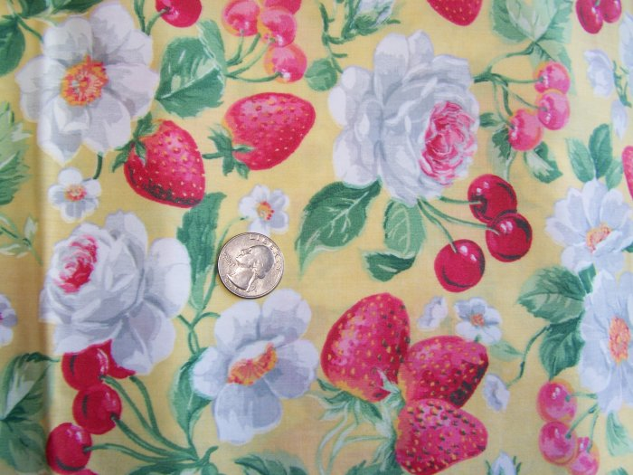 """1 Yard 33"""" Vintage Cotton Concord Fabric By Kesslers Roses Strawberries Cherries Blossoms Roses"""