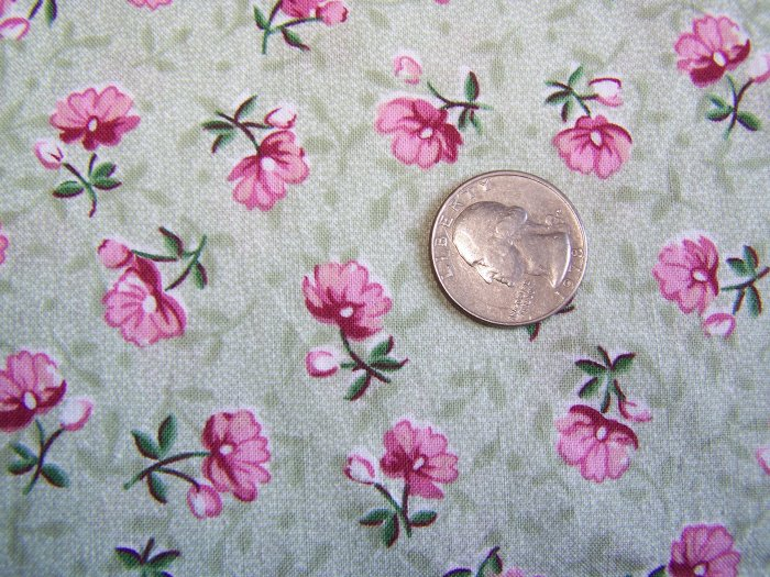 Vintage Cotton Blend Fabric Green Ground with Pink Flowers