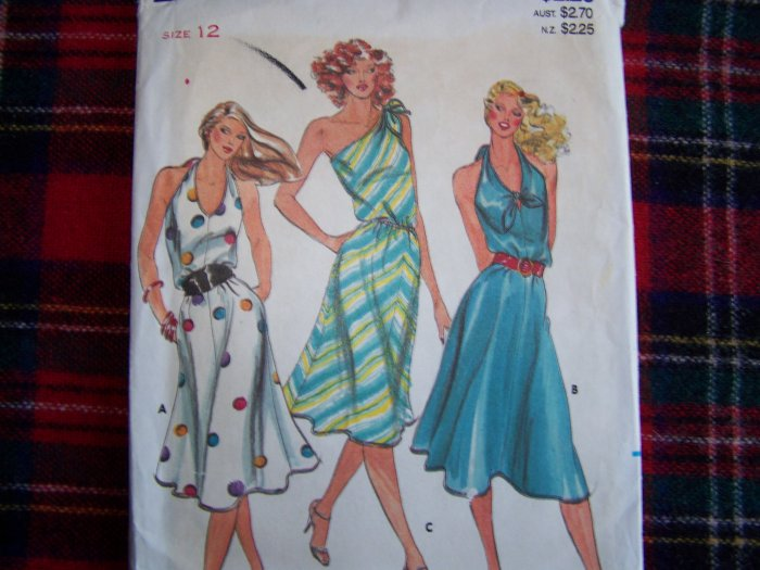 1970's Vintage Sewing Pattern Sexy Disco Dress Halter or 1 Shoulder Tie 3176