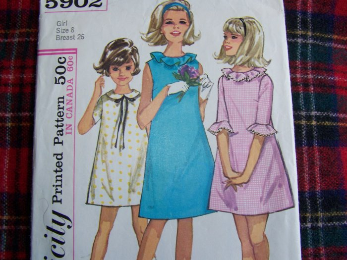 60's Vintage Girls Sewing Pattern 5902 A Line Dress Ruffle Collar & Sleeves
