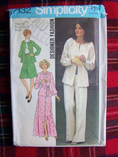 70's Vintage Sewing Pattern 7132 Misses Suit 2 Pc Dress Top Skirt Pants Sz 10
