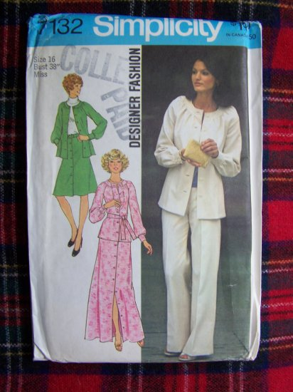 Vintage Sewing Pattern 7132 Sz 16 Suit SHort or Maxi Skirt Top Pants