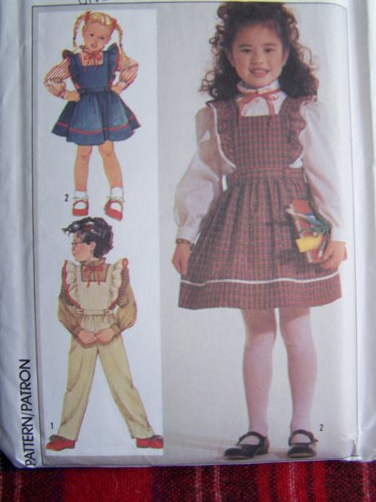 80's Vintage Girls Sewing Pattern 7011 Long Slv Blouse Jumper Dress Overalls 5 6 6X