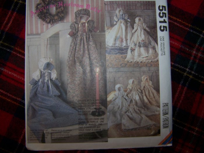 1 Cent USA S&H McCall's 5515 Heirloom Pillowcase Dolls Sewing Pattern