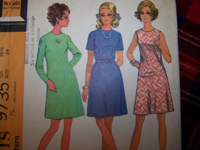 USA 1 Cent S&H 1960's Vintage Dress McCall's Sewing Pattern 9735 Size 16 1/2