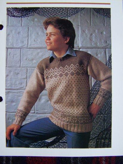 1 Cent USA S&H Boys and Girls Scandinavian Sweater Knitting Pattern