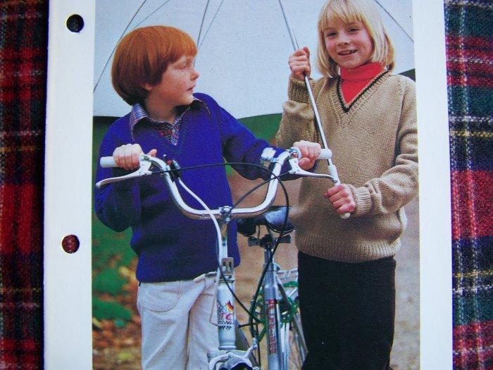 USA 1 Penny S&H Girls Boys V Neck Back To School Sweater Knitting Pattern Kids