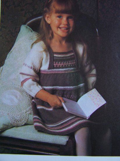 1 Cent USA S&H Vintage Girls Knitted Pinafore Dress Knitting Pattern