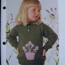 US 1 Cent S&H Vintage Toddlers Flower Pot Knitted Sweater Knitting Pattern