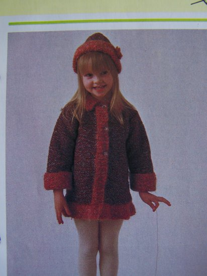1 Cent USA S&H Vintage Girls Knitted Winter Coat and Hat Knitting Pattern
