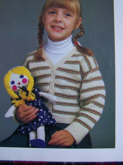 1 Cent S&H USA Vintage Girls Striped Cardigan Sweater Knitting pattern