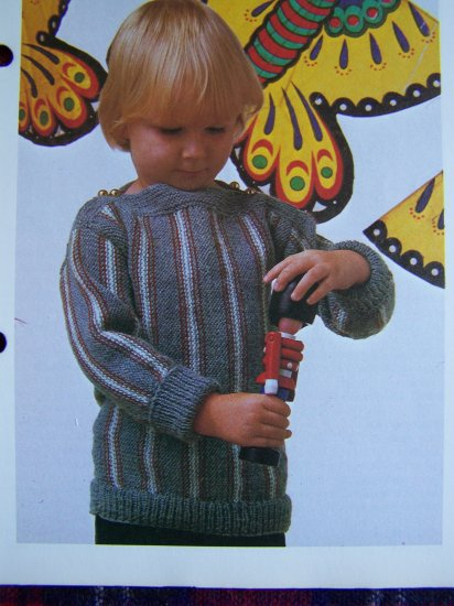 1 Cent S&H USA  Vintage Knitting Pattern Childs Vertical Striped Sweater Top