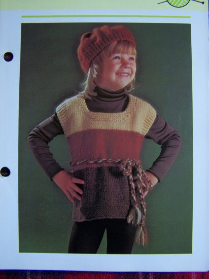USA S&H Special 1 Cent Child's Tunic Sweater Top & Beret Knitting Pattern