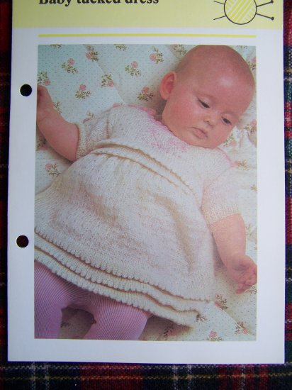 USA 1 Cent S&H Vintage Baby Tucked Dress Knitting Pattern Babies