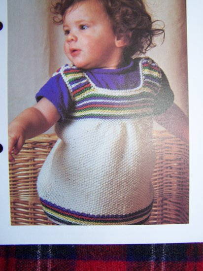 US 1 Cent S&H Vintage Knitting Pattern Baby Pinafore Dress Babies