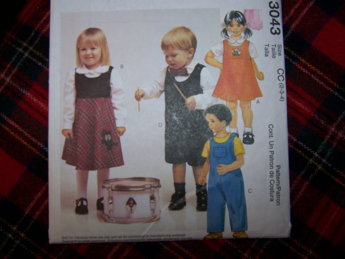 Children's Jumper Dress 2 Length Rompers Shirt Toddlers 2 3 4 Sewing Pattern 3043