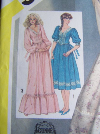 80's Vintage Gunne Sax Dress Short or Maxi Gown Puff Slv Sewing Pattern 5490
