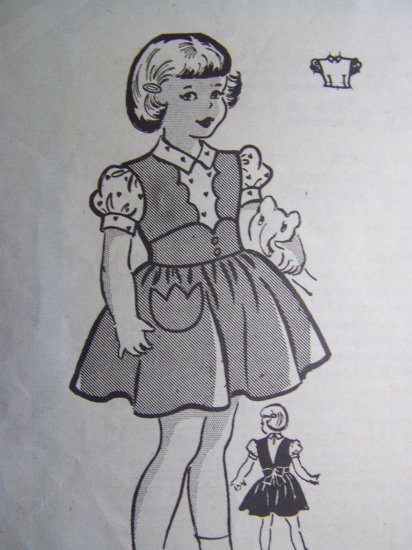 Vintage Anne Adams Girls 2 Apron Pinafore Full Skirt Twirl Jumper Dress Blouse