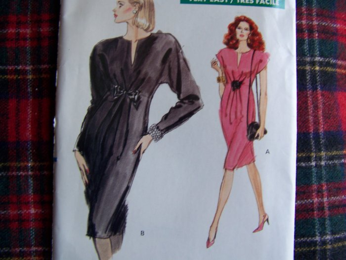 USA 1 Cent S&H 80's Vintage Easy Vogue Sewing Pattern 7373 Cocktail Dress Sz 12 14 16